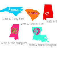 5 inches - 6 inches Vinyl State Decals - Home State Decal - State Monogram - Many color options & Sizes! - Custom / Personalized / Monogram