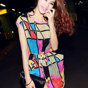 Colored Geometric Print Sleeveless Chiffon Mini Dress
