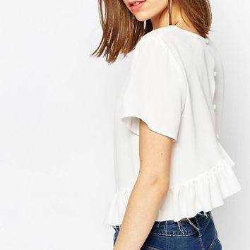 ASOS Ruffle Hem Tee With Raw Edge Detail