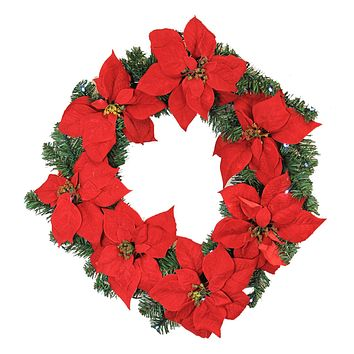 """24"""" Pre-Lit B/O Red Artificial Poinsettia Christmas Wreath - Clear LED Lights"""