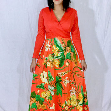 Vintage 60s Psychedelic Mod Orange Crepe Polyester Floral Empire Waist Long Sleeve Maxi Dress M // L