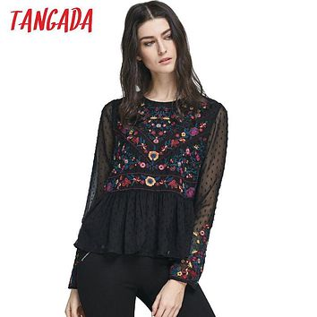 Tangada Fashion Women Blouse Mesh Chiffon Shirts 2017 Floral Embroidery boho Blusas Ruffle Long Sleeve Woman Vintage Crop Tops