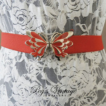 Vintage Butterfly Red Stretch Belt/Gold, Red Enamel Butterfly Stretch Elastic Belt