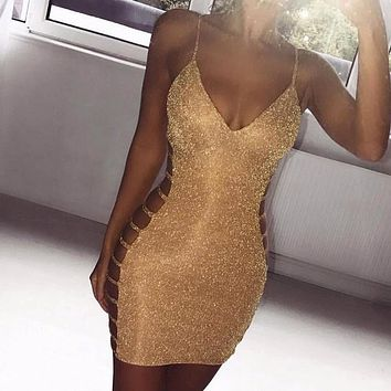 Women Sexy Bodycon Dress Sleeveless V Neck Spaghetti Strap Stretchy Package Hip Short Mini Dress Womens Club Dress Vestido