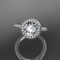 14kt white gold diamond unique engagement ring,wedding ring ADER97