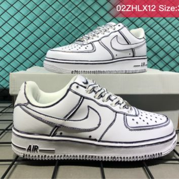 Nike Air Force 1 Leather Low Cup Hollow Fashion Casual Skate Shoes White