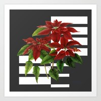 vintage poinsettia on modern background Art Print by clemm