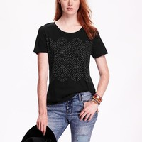 Old Navy Womens Rounded Hem Graphic Tee