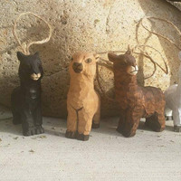 Alpaca Ornaments - Rustic Carved Wooden