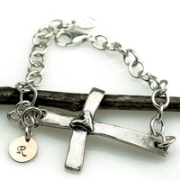 Sterling Silver Sideways Cross Bracelet with Copper Initial Charm