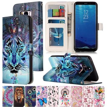 Varnish Relief Leather Case For Samsung Galaxy S8 Leather Flip Wallet Cover For Samsung Galaxy S8 Plus Mobile Phone Shell