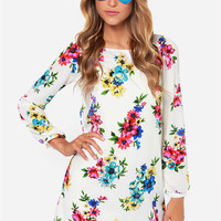 Herbaceous Babe Ivory Floral Print Shift Dress