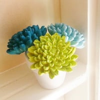 Summer Flower sculpture in White Container, aqua, teal blue, lime green, desk accessory, modern centerpiece, dorm room decor