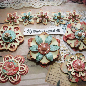 Dark Peachy Pink, Ivory and Light Blue Paper Embellishments and Paper Flowers for Scrapbook Layouts Cards Mini Albums and Paper Crafts