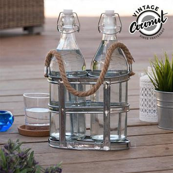 Vintage Coconut Glass Bottles with Bottle Holder
