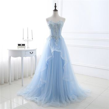 Light Blue Tulle Beading Off The Shoulder Women's Dress Prom Dress Evening Dress Sweetheart