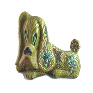 Norleans Japan Sad Eye Puppy Dog Figurine, Beautiful Art Deco Basethound Figurine
