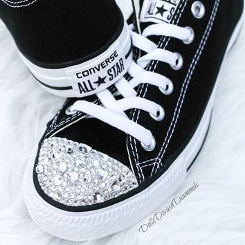 Customized Converse With SWAROVSKI Shapes CRYSTALS - BLACK