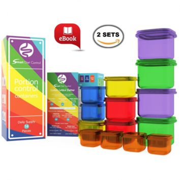 SDC - Portion Control Containers Kit Double Set (14 Piece) with COMPLETE GUIDE +
