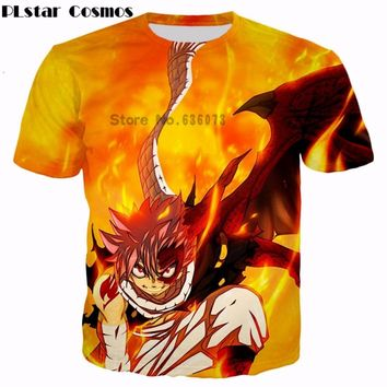PLstar Cosmos New design 2017 summer Men/Women T-shirts Classic Anime Fairy Tail funny Natsu Dragneel 3d print casual t shirts