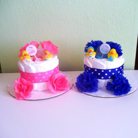 Twin Boy and Girl Diaper Cakes - Set of 2 Diaper Cakes