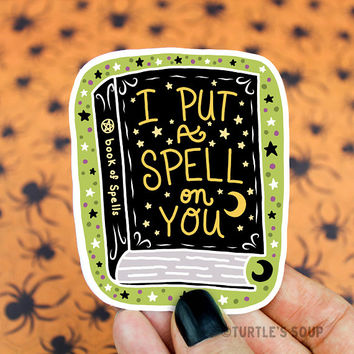 Spell Book Sticker, Vinyl Decal, Witch Sticker, Halloween, Goth Sticker, Pastel Goth, Wicca, Skateboard Stickers, Cute Stickers, Black, Dark