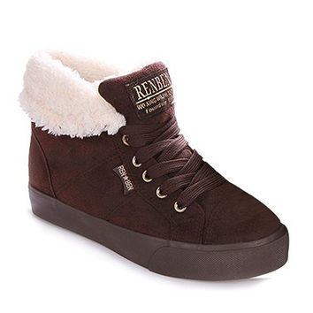 Flock Design Lace Up Suede Boots With Plush