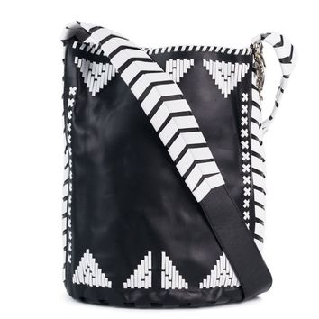Roberto Cavalli Womens Black Leather White Tribal Stitched Hobo Bag
