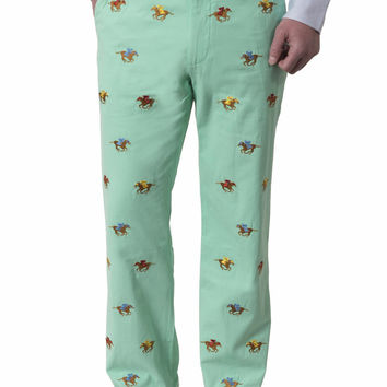 Harbor Embroidered Pant Palm Canvas with Racing Horse
