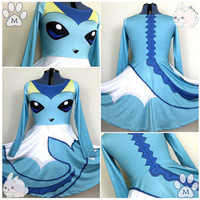 Vaporeon Eeveelution Pokemon Skater Dress Gijinka Cosplay Costume - Bunni Designs [6-8 Week Processing Time, MADE TO ORDER]