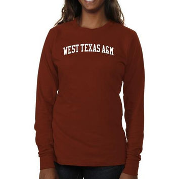 West Texas A&M Buffaloes Ladies Basic Arch Long Sleeve Slim Fit T-Shirt - Cardinal