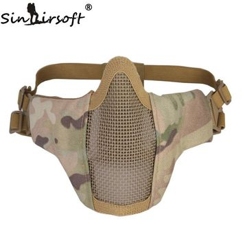 SINAIRSOFT Tactical Airsoft Mask Helmet Half Lower Face Metal Steel Net Hunting Protective prop for Paintball Party Mask CS
