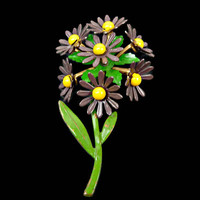 Brown Enamel Daisy Flower Bouquet Brooch Mid Century 1960s
