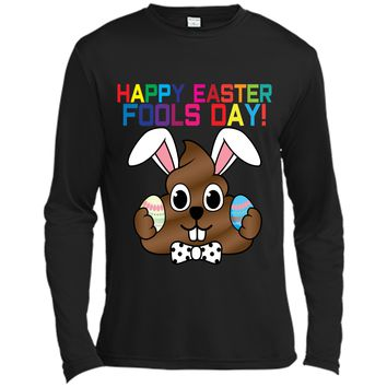 Happy Easter Fools Day Poop Emoji T-Shirt for Easter Gift Long Sleeve Moisture Absorbing Shirt
