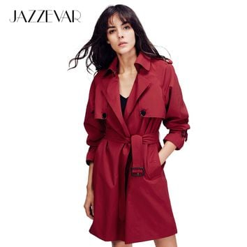 JAZZEVAR 2017 Autumn New Fashion Women's Casual open stitch trench coat brief business Formal Outwear With Belt