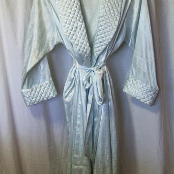 Pastel Aqua Green, Sexy Long Robe, Embossed Satin, Quilted Collar Cuff, Wrap Style, Hospital Maternity, Adonna, Size Medium