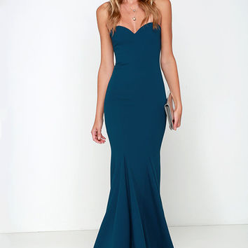 Sorella Navy Blue Strapless Maxi Dress