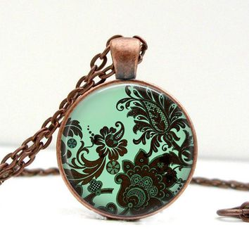 Damask Necklace - Green Damask - Damask Pendant - Glass Pendant - Pendant Necklace - Damask Jewelry