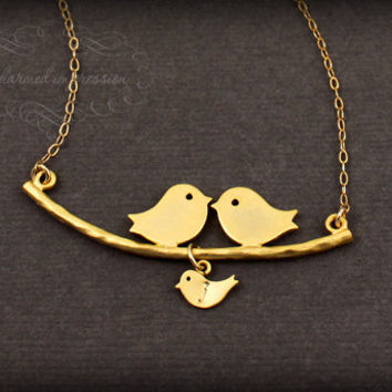 Bird Family Necklace . Parents and Baby Necklace . Bird Family Gold . Personalized Mother's Necklace . Expecting Gift . OUR LITTLE FAMILY