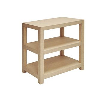 Worlds Away Huxley Grasscloth Side Table