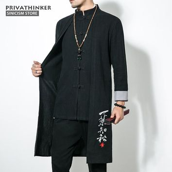 Sinicism Store 5XL Long Length Jacket Men Trench Cotton Linen Fabric Male Embroidery Jacket Coat Windbreaker Size Plus