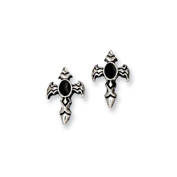 15mm Antiqued Dagger Cross Post Earrings in Stainless Steel