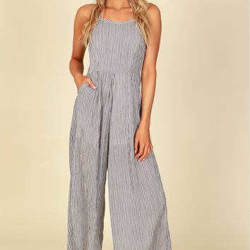 Classic Tank Striped Jumpsuit Off White