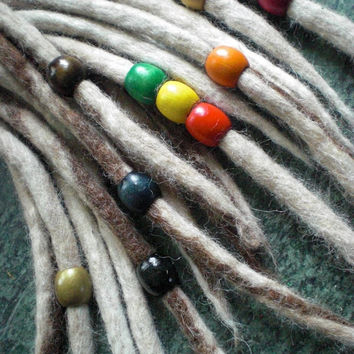 "Set of 3 Dread Beads Large 5/8"" Medium Wooden Dreadlock Braid Accessories Wood 8mm Diameter Hole for Dreads Braids Mix and Match Colours"