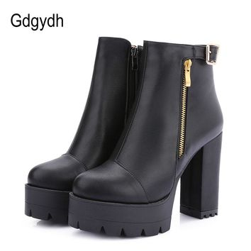 Gdgydh Spring Women's Shoes High Heels New Arrival Fashion Buckle Brown Round Toe Autumn Motorcycle Boots Platform Plus Size 42