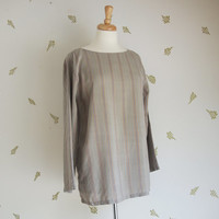 1960's Grey Silk Top / Pinstripe / Long Sleeves / Small - Medium / Vintage 60s