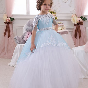 2016 Mint Blue Tulle Kids Beauty Pageant Dresses Half Sleeve Appliques With Lace Back Pageant Dresses Little Girls