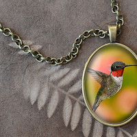 Ruby Throated Hummingbird Pendant, Bird Necklace, Animal Jewelry (1636B)