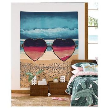 Heart Sunglasses Wall Bed Tapestry