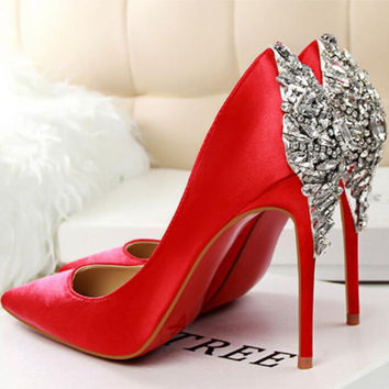 Luxury Elegant Pumps Star Shoes Rhinestone Satin High Heels Shoes Thin High-heeled Pointed Shiny Party Weddin Shoes 6color